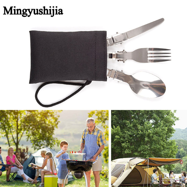 Outdoor Camp Hike Travel Kit Portable Foldable Tourist Dinner Set Fork Spoon Knife Cutlery Tableware Dinnerware Picnic accessory