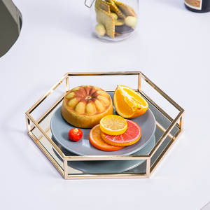Tray Modern Mirror Coffee-Table-Cup Hexagonal Home-Decoration Minimalist Dessert Fruit
