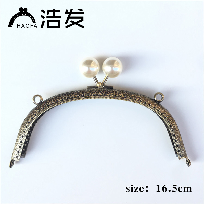 16.5cm 10pcs Arc Sewing Metal Purse Frame With Center Pearl Head Kiss Clasp Patchwork Bag Handle Making Cclutch Bag Frame To Make One Feel At Ease And Energetic Luggage & Bags