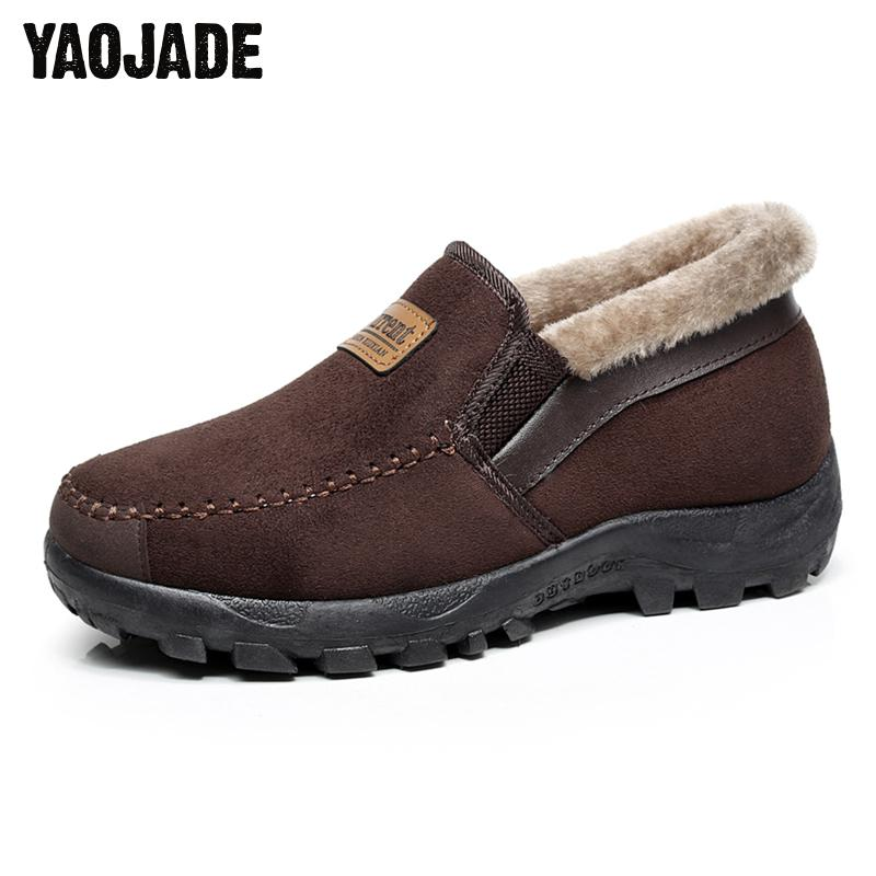 2017 New Fashion Men Snow Boots Plush Super Warm Suede Leather Boots Men Boots Work Shoes Outdoor Lover Winter Father Shoes