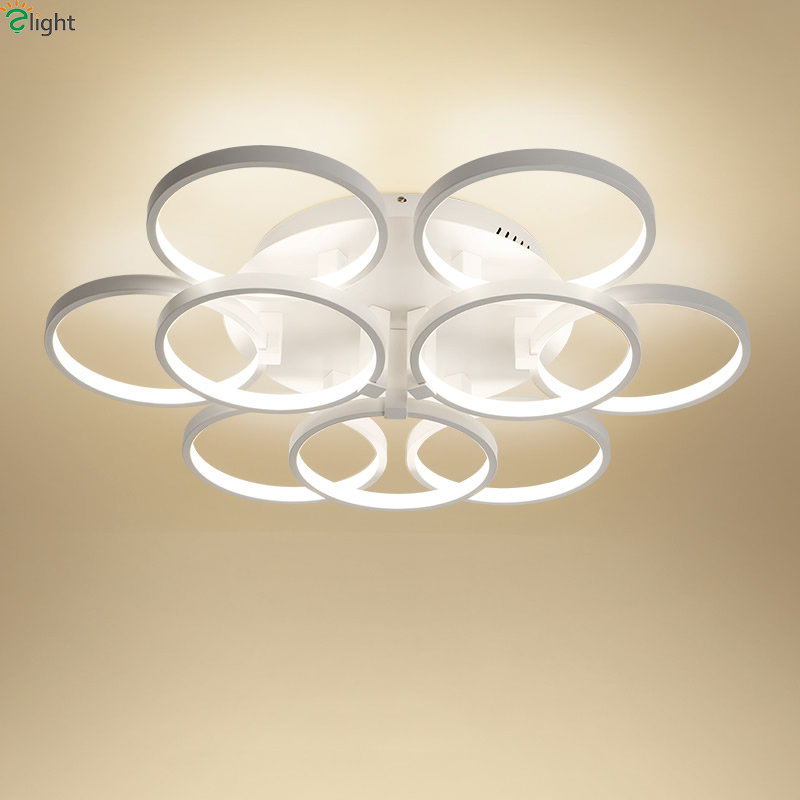 Modern Rotatable Aluminum Rings Dimmable Led Chandeliers Lustre Acrylic Bedroom Led Ceiling Chandelier Lighting Lights Fixtures