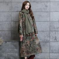 2019 Autumn Winter Dress Women Vintage Printed Mid Calf Dress Vestidos Fleece Thickening V neck Long Sleeve Casual Loose Robe