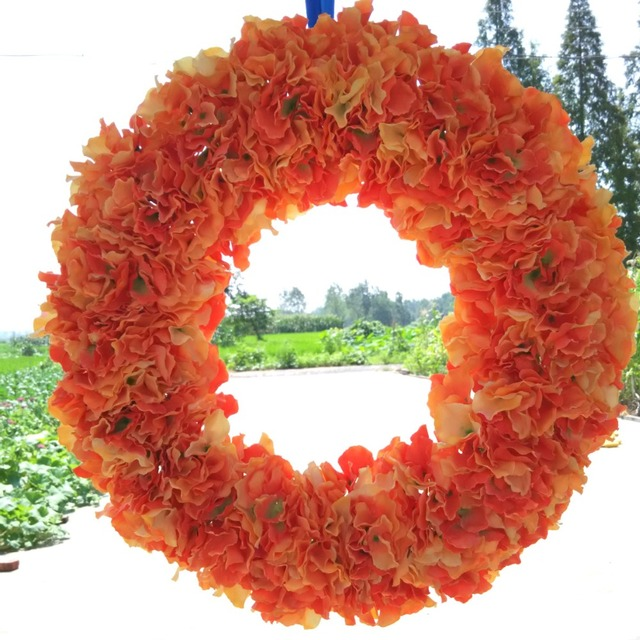 Wedding Decoration Round Garland 20 Inches Orange Hydrangea Wreaths