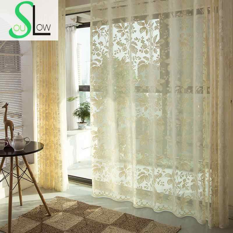 Slow Soul Cream Colored Korean Flowers Embroidered Curtain Fabric