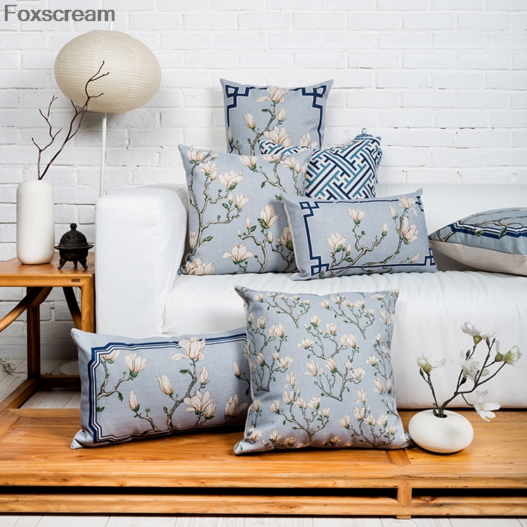 Chinese Decorative Pillows Cases Flower Cushion Cover Blue Throw