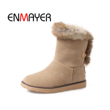 ENMAYER High Quality Short Plush 2018 Ankle Strap 34-43 Ladies Fashion Woman Casual Shoes Heel Fashion Square Heel Boots WHY133