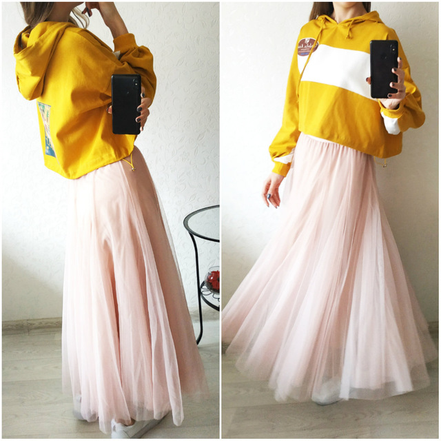 Jielur Autumn 3 Layers Princess Tulle Skirts Vintage Solid Color Mesh Women Skirt Pleated A-line Saia Female Jupe Tutu Skirts 5