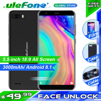 Ulefone S1 Mobile Phone 5.5 inch 18:9 MTK6580 Quad Core 1GB+8GB 8MP+5MP Dual Cameras Android 8.1 3G Smartphone free back case