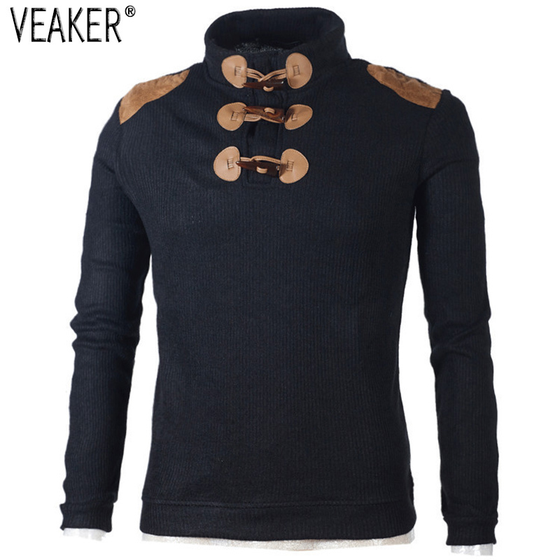 2019 Autumn Men's Sweater Pullover Male Long Sleeve Horn Button Knitted Turtleneck Sweaters Slim Fit Black Gray Pullovers S-2XL