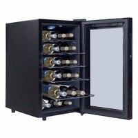 Goplus 6/12/18 Bottles Thermoelectric Wine Cooler Freestanding Temperature Display Bar Kitchen Wine Cooler Glass Door HW54591