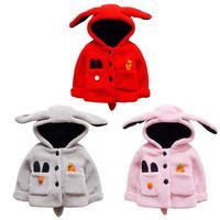 Winter Cartoon Lovely Keeping Warm Costume Korean Baby Infant Girls Winter Warm Hooded Cartoon Rabbit Solid