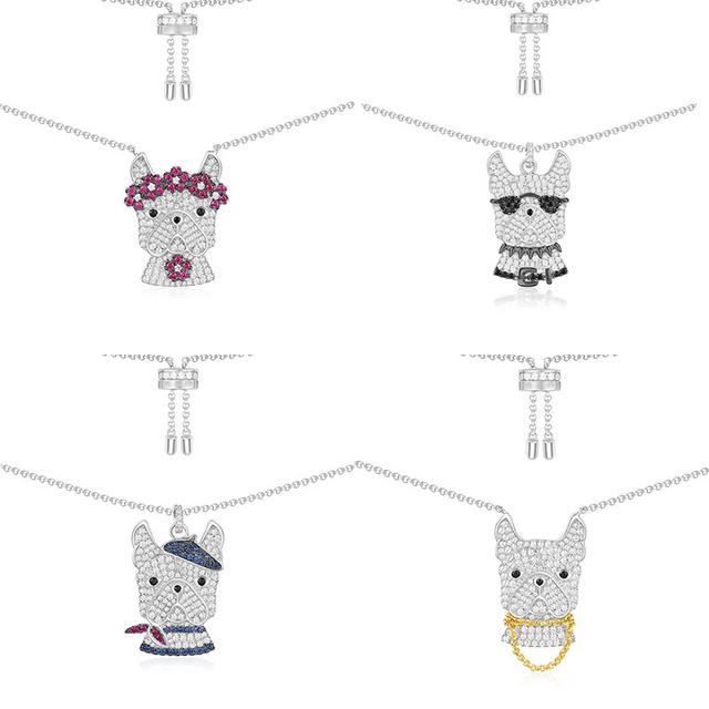 Fashion Charm 100% Sterling Silver Original 1:1 High Quality Color Doggy Necklace Women Jewelry Free Mail