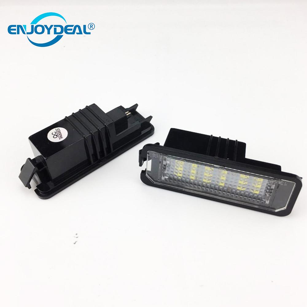 2018 2PCS VW License Plate Light replacement 18LED SMD Led lamp W/Decoder for VW GOLF /Lupo /Polo /Passat /Phaeton Car Styling