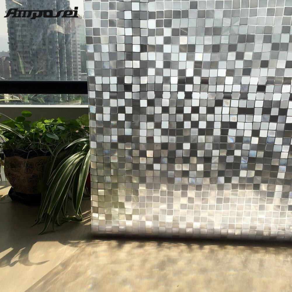 New PVC Waterproof Windows Glass Film 45 200cm Cube Square Design For Home Decoration Free Shipping