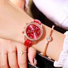 Luxury Brand Rhinestone Women Watches Fashion Casual 3-eye Dress Watch Women Elegant Leather Watch Relogio Feminino Female Clock цена