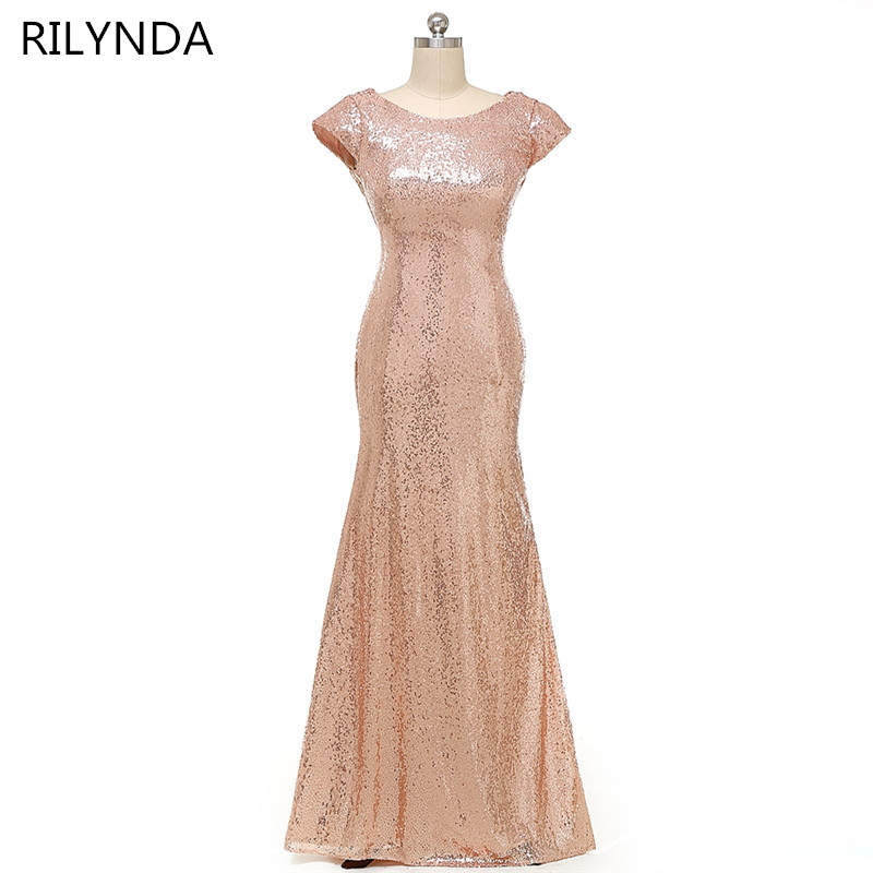 Champagne gold Long Bridesmaid Dresses Sequined Short Sleeve Floor Length Bridesmaid Dress  Prom Gown Wedding Party Dress