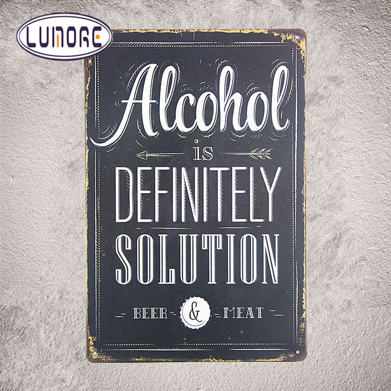 Alcohol is Definitely Solution Beer Poster Bedroom Pub Home Decor Craft Wall Painting D227