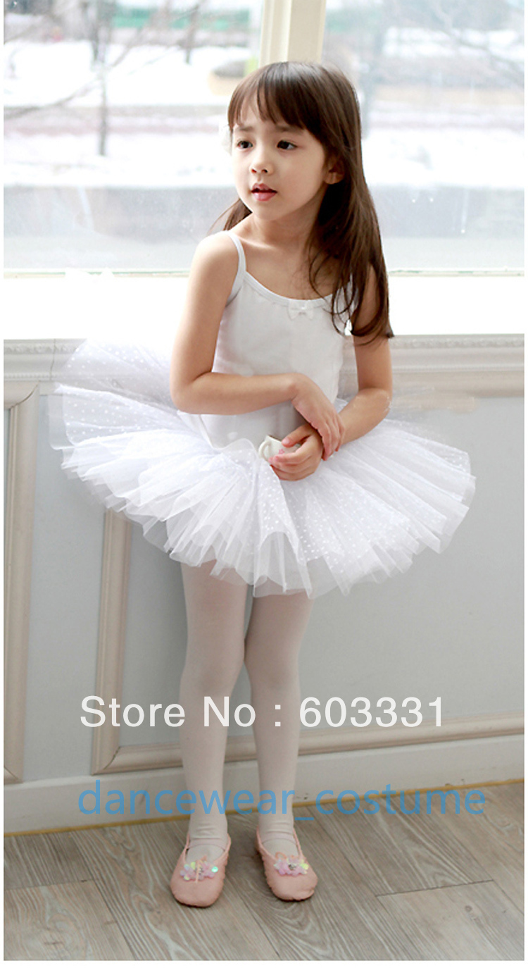 NWT Kids Girls Cotton Birthday Party Ballet Costume Tutu Leotard Skirt Princess Dance Dress SZ 3-8Y White - dance dress store