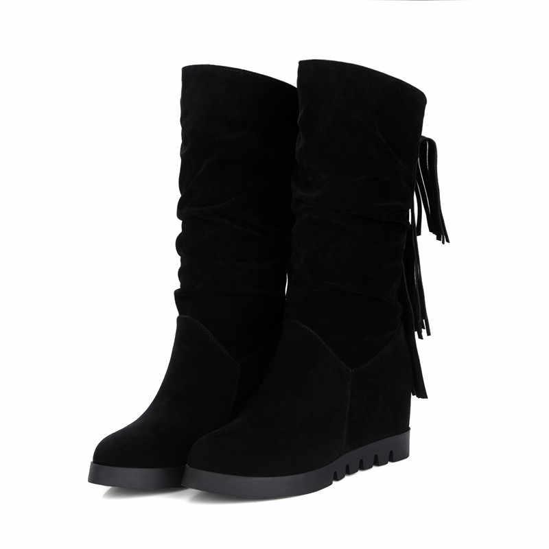 MEMUNIA 2018 yeni varış orta buzağı çizmeler kadın akın sonbahar kış çizmeler moda püskül rahat platform ayakkabılar kadın
