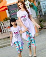New Girls Clothing Family Set Outfits Summer Girl Dress Flower Cat Girls Woman Kids T Shirts