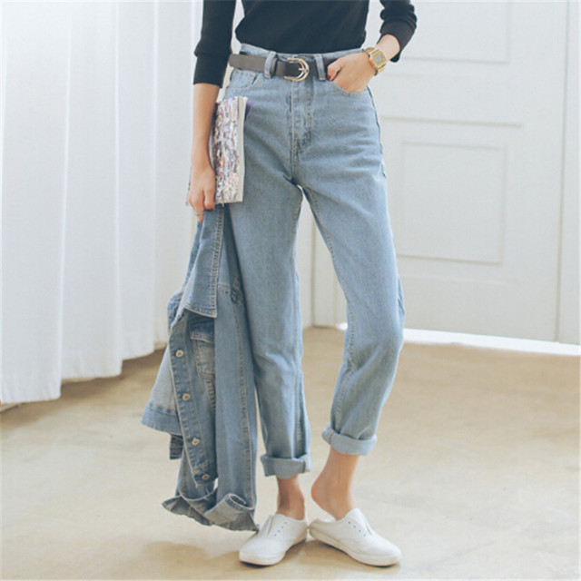 ede7b65e5d8 Premium classic Otoño Talle Boyfriend Jeans Para Mujeres Baggy Jeans Mujer  de la Alta Calidad