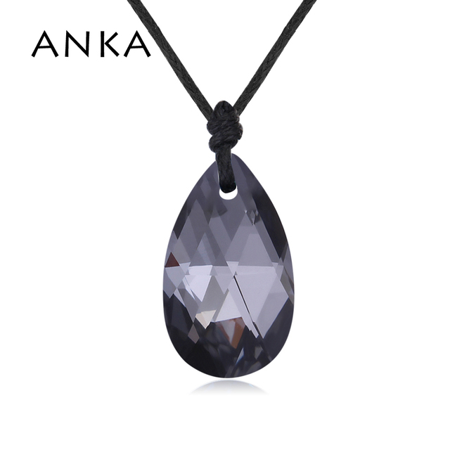 eb969aff1 ANKA brand water drop black crystal pendant rope chain necklace for women  gift made with Crystals