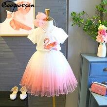 807cca248e1 Niñas Ropa conjunto de manga corta Camisa y falda de flamenco camiseta falda  rosa de bebé niña ropa de verano conjunto de nueva .