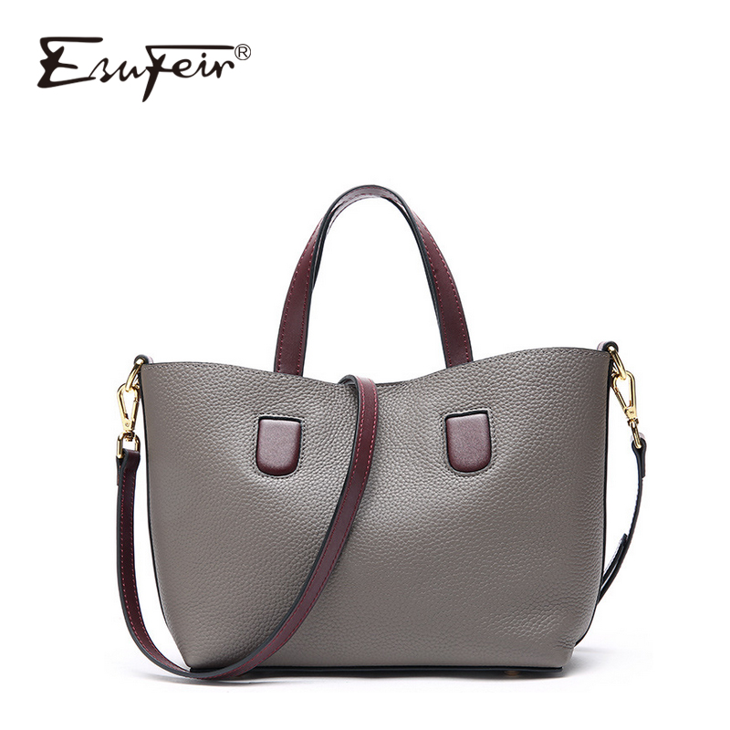 цена на ESUFEIR Fashion Cow Leather Women Handbag Luxury Designer Bags For Women 2018 Women Shoulder Bag Famous Brand Bag Women Tote Bag