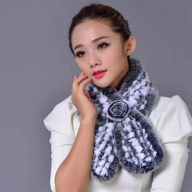 New 2016 Real Rex Rabbit Fur Scarf Women Winter Warm Fur Elegant Genuine Cute Fluffy Scarves Free Shipping