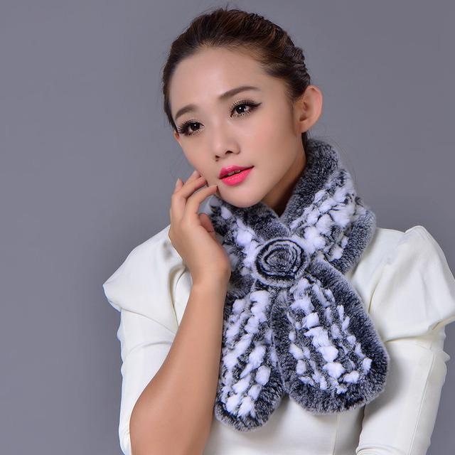 Nuevo 2016 Real Rex Rabbit Fur Scarf Women Winter Warm Fur Elegante Genuino Lindo Mullido Bufandas Envío Gratis