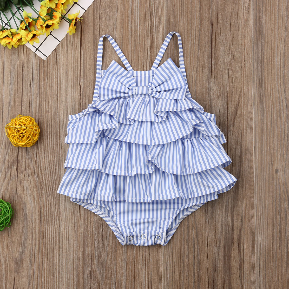 Emmababy New Summer Baby Girls Striped Bow Holiday Beach Swimsuit  Sleeveless Ruffle Bodysuit Outfits