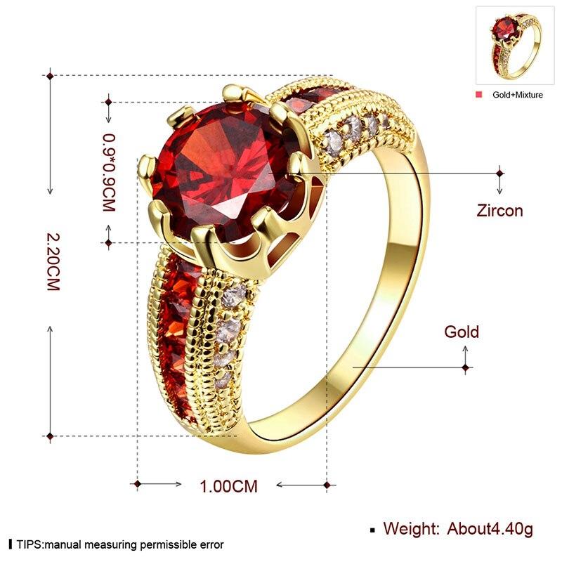 Cincin pertunangan, Cincin zirkonia kubik, Mewah merah perhiasan, - Perhiasan fashion - Foto 4