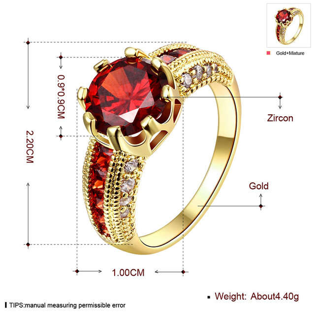 Engagement Rings Cubic Zirconia Rings Luxurious Red Jewelry Wedding Ring Women Ring For Party Buy A Gift (JewelOra RI101653)