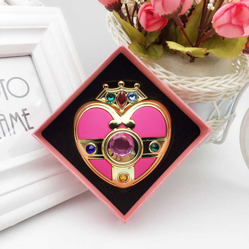 Anime Sailor Moon Moonlight Memori Kristal Berwarna Merah Muda Jantung Make Up Mirror Case Kotak Cermin Kompak Cosplay Wanita Kosmetik Hadiah