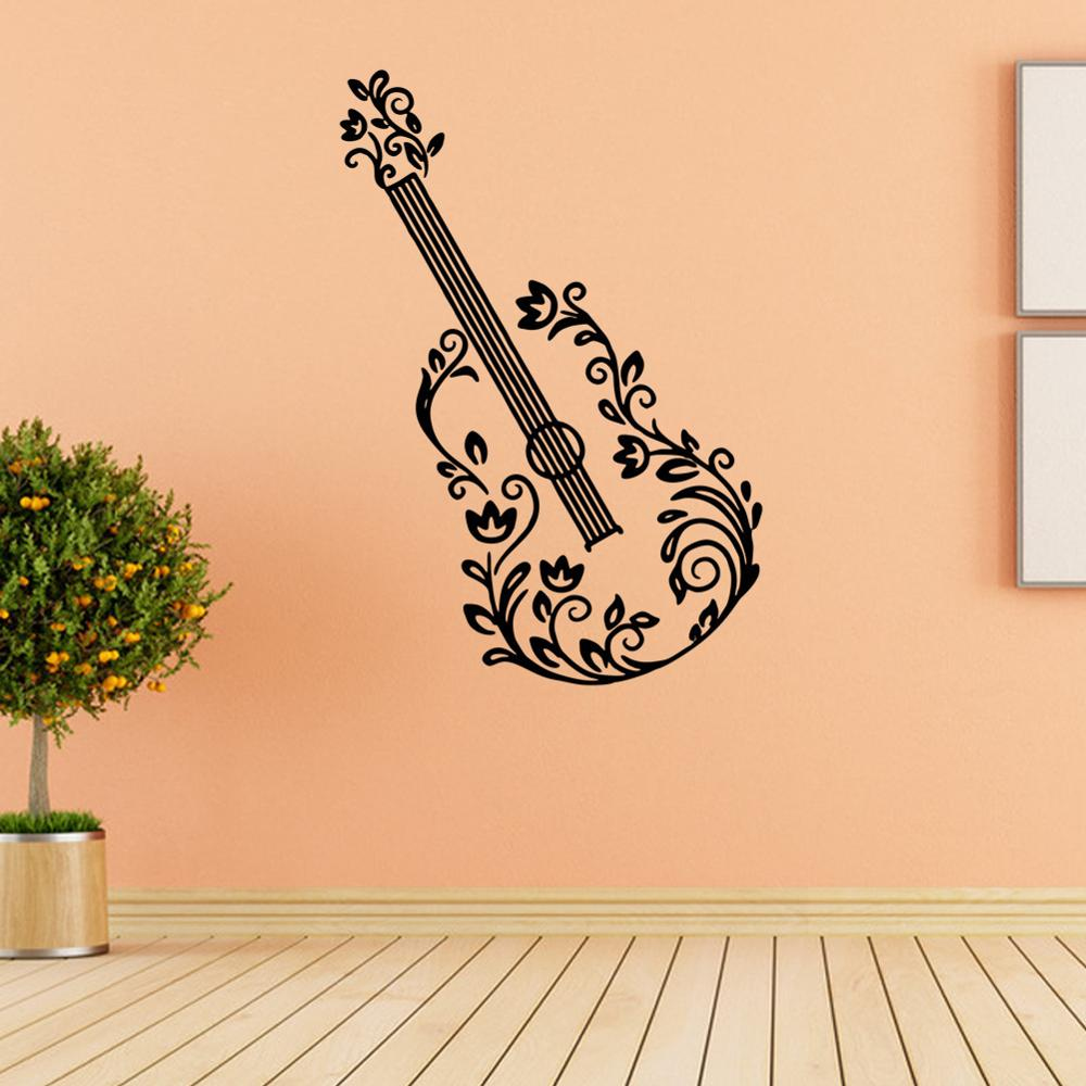 Music guitar art wall stickers living room bedroom decoration ...
