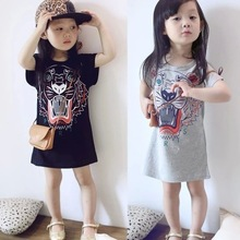 Hot Sale Summertime Baby Girls Dresses Fashion Casual Children's Clothes Short Sleeves tiger dress Cotton O-Neck Cute Kids wear