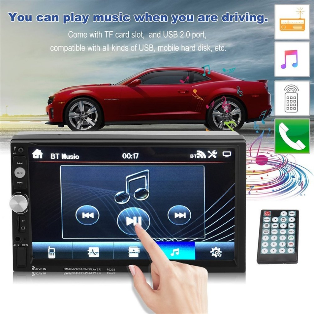 Universal 7023B Auto Car DVD Player 7 Inch Bluetooth MP5 Player FM Radio With Rear View Camera Stereo Multimedia Vehicle Radio