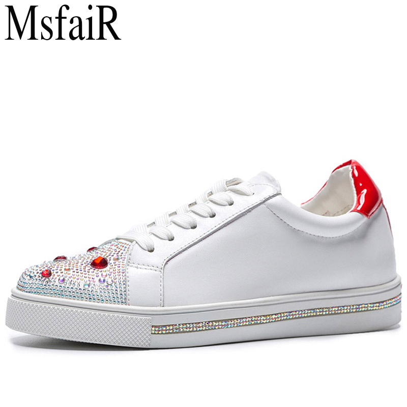 MSFAIR 2018 Cow Leather Skateboarding Shoes Woman Brand Genuine Leather Women Sport Shoes Rhinestone White Sneakers For Ladies msfair 2018 cow leather skateboarding shoes woman brand genuine leather women sport shoes rhinestone white sneakers for ladies