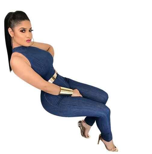 Синие джинсы комбинезон Для женщин без рукавов Молния сзади сексуальные комбинезоны Bodycon Длинные брюки джинсы комбинезоны DW607