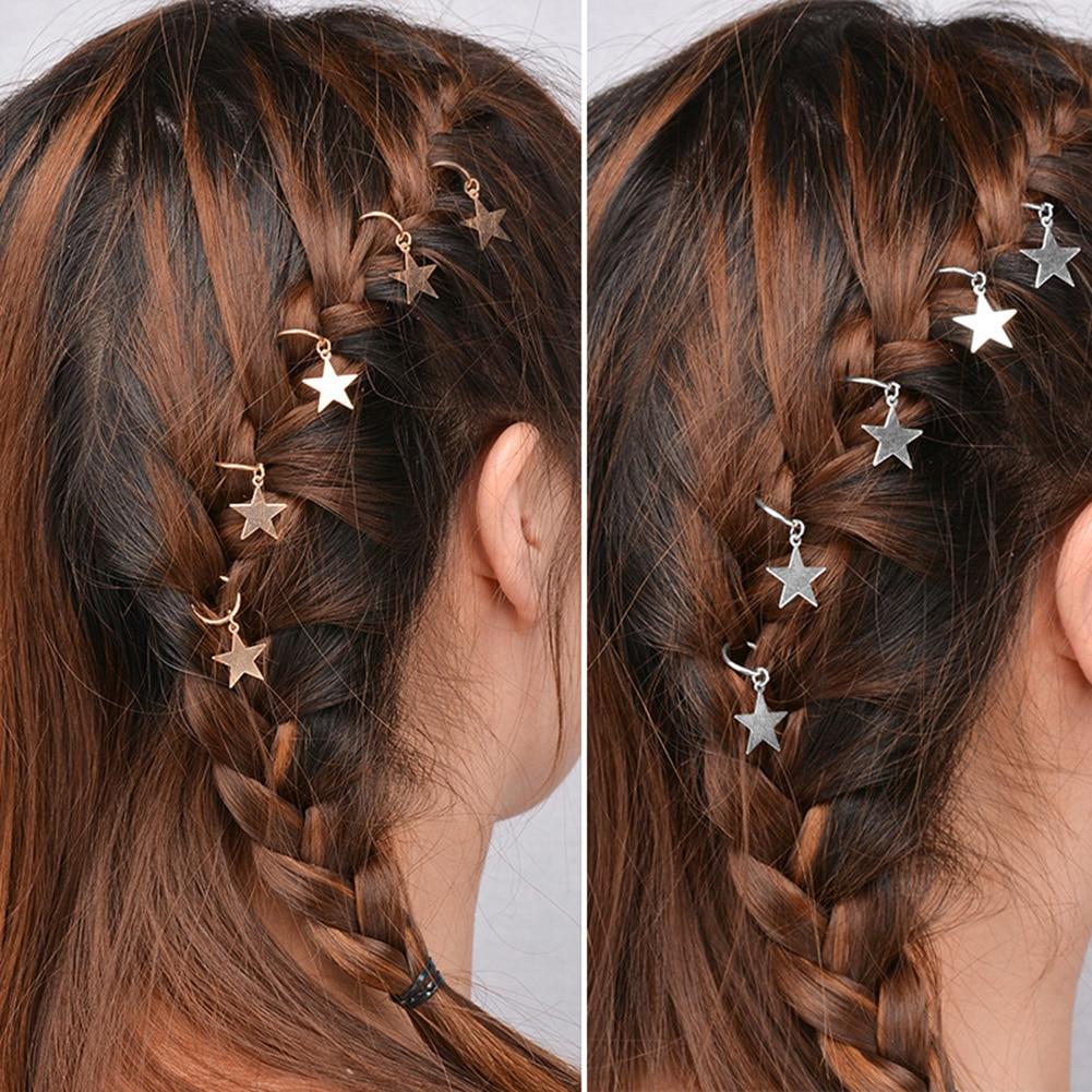 Hip-hop feminino geométrico metal círculo hairpins moda senhora acessórios de cabelo 5-10 pc trança mão cruz concha estrela anel grampos de cabelo