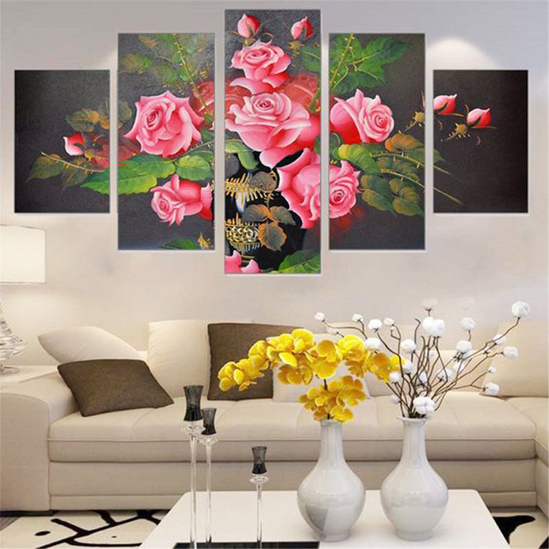 5PCS Full Diamond Embroidery Flower Diy Diamond Paintings Full Mosaic wall art Modular pictures canvas pictures for living room