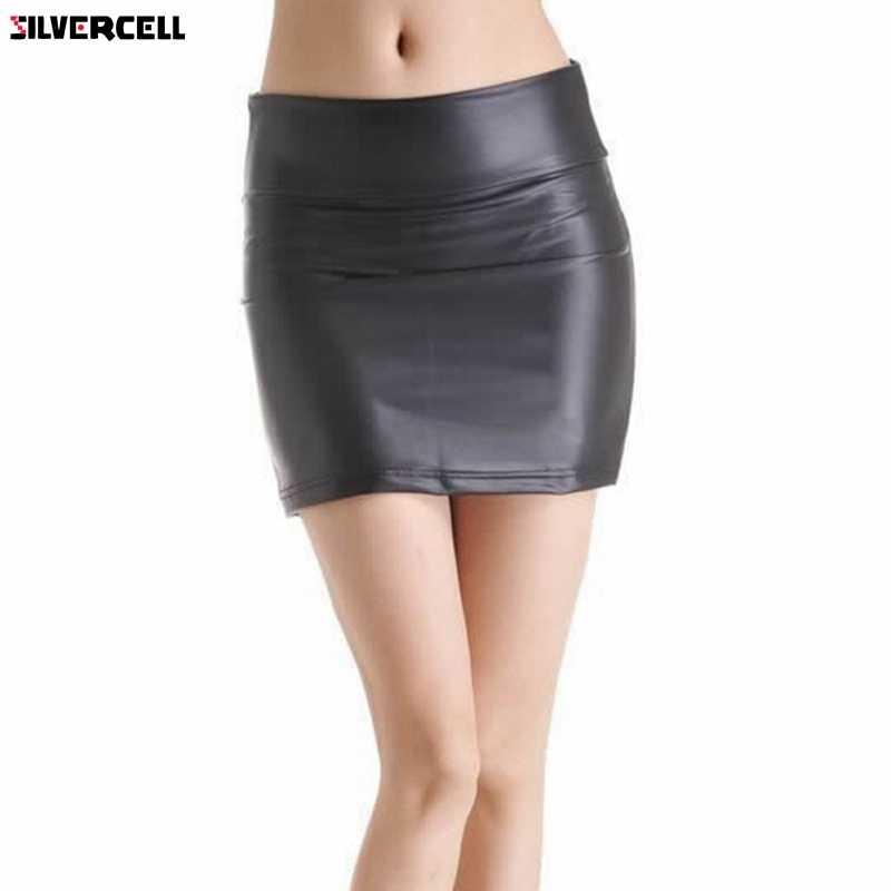 d1a213ea66 Women Black Stretch Faux Leather Tight Zip High Waist Mini Skirt Plus Sizes  S-3XL