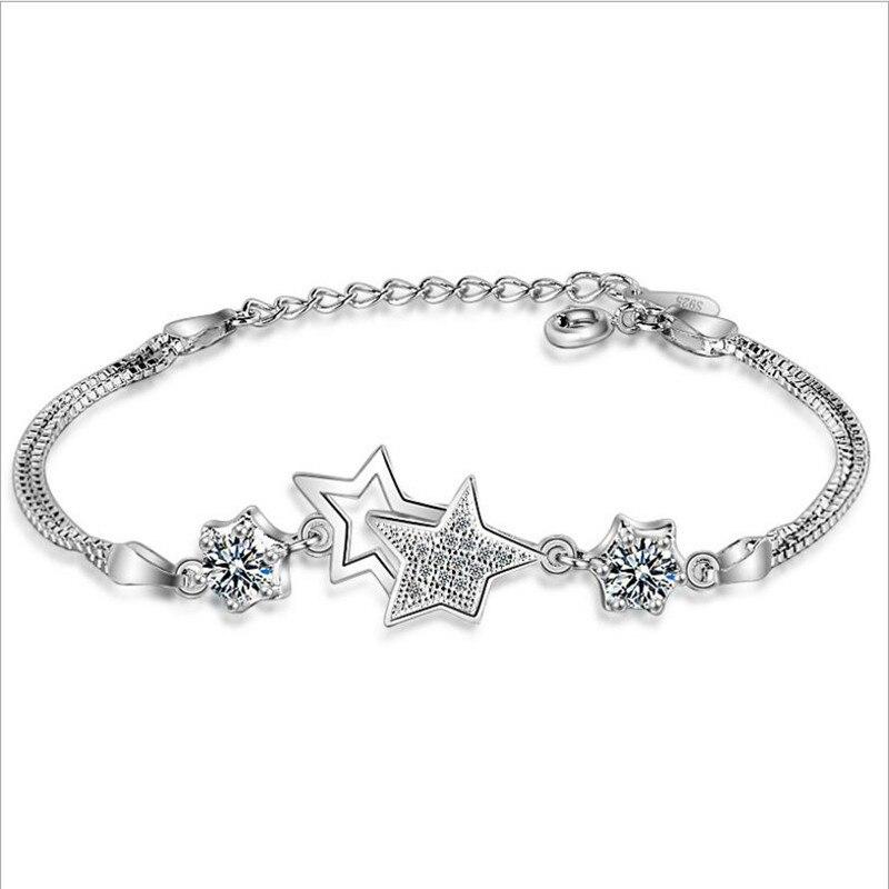 TJP Charm 925 Silver Women Bracelet Accessories New Fashion Cubic Zirconia Purple Star Girl Anklets Jewelry Lady Christmas Gift
