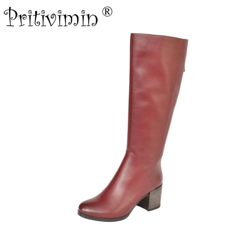 2018 Fashion winter women botas mujer shoes Ladies cow leather bottes femmes girl heel velvet lining long boots Pritivimin FN59
