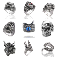 Gothic Punk Ring Men Retro Dragon Rabbit Snake Tiger Wolf Rings Skeleton Devil Evil Eye Pentagram Animal Male Jewelry Anel