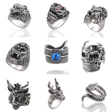 Gothic Punk Ring Men Retro Dragon Rabbit Snake Tiger Wolf Rings Skeleton Devil Evil Eye Pentagram Animal Male Ring Jewelry Anel(China)
