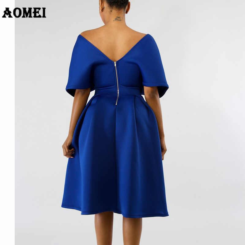 ... Women Swing Dress Backless Pleated Elegant Party Wear Deep V Neck Blue  White Black Classy Vestido ... 0198212ea