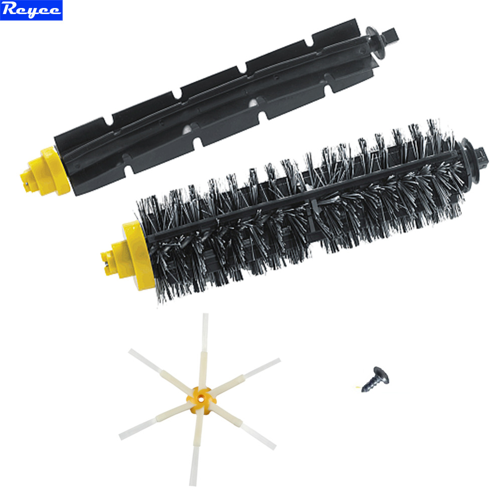 New Flexible & Bristle Brush 6-Armed Side Brush With Screw Set for iRobot Roomba 600 700 Series 620 630 650 660 760 770 780 flexible beater brush bristle brush for irobot roomba 500 600 700 series 550 630 650 660 760 770 780 790 vacuum cleaner parts