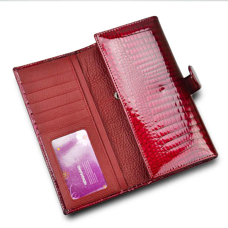 Vermelho brilhante Carteira de Couro Genuíno Das Mulheres Carteiras Bolsa Feminina Bolsas Longas Senhoras Bolso Da Moeda Titular Do Cartão Carteira de Couro de Jacaré
