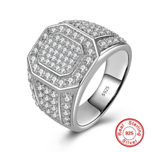 Certified Fine Jewelry  Solid Pure 100% S925 Ring Sterling silver 925 diamond Wedding Engagement Luxury Exaggerated hiphop love